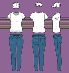 T-shirt cap and jeans set vector