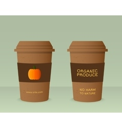 Farm fresh cup template with pumpkin stylish mock vector