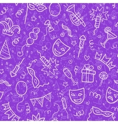 White carnival symbols in doodle style on violet vector