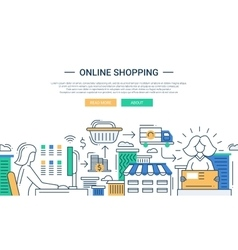 Online shopping line flat design banner with a vector