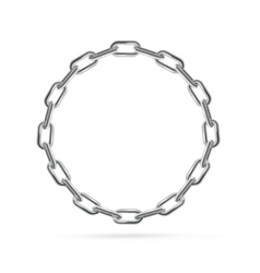 Silver chain frame round vector