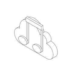 Musical notes icon isometric 3d style vector