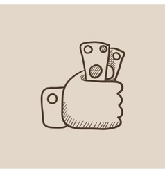 Hand holding money sketch icon vector image