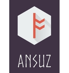 Ansuz rune of elder futhark in trend flat style vector