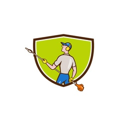 Gardener hedge trimmer crest cartoon vector
