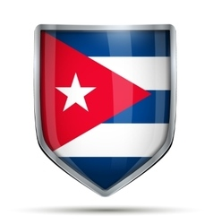 Shield with flag cuba vector