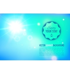 Summer background with a sun burst with lens flare vector