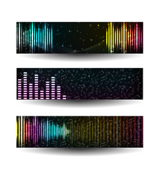 abstract equalizer banner set vector image vector image