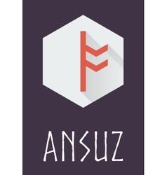 Ansuz rune of Elder Futhark in trend flat style vector image