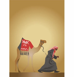 Arab and camel vector