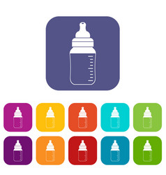 Baby milk bottle icons set flat vector