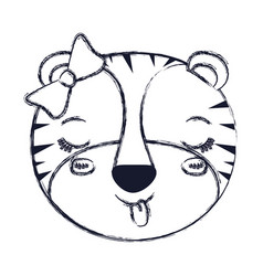Blurred silhouette face of female tigress animal vector