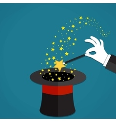 Cartoon Magicians hands holding a magic wand vector image