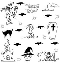 Castle zombie and bat halloween in doodle vector image