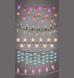 Christmas lights garland isolated design xmas vector
