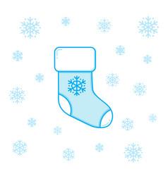 christmas sock and snowflakes vector image