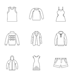 Clothing icons set outline style vector