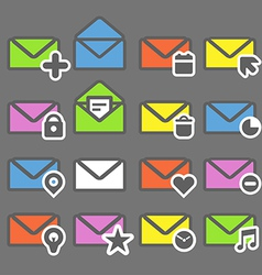 Collection of color mailing web icons vector image