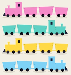 Colorful Trains isolated on beige background vector image vector image
