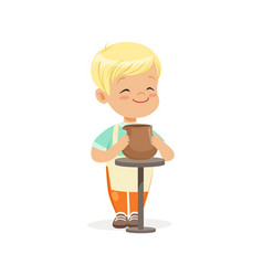cute little boy potter making ceramic pot kids vector image