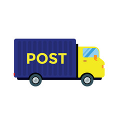 Delivery transport cargo post truck vector