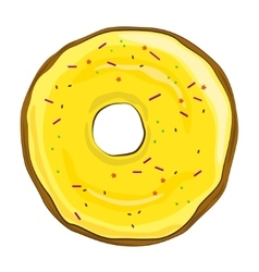 Donut with yellow icing on white background vector image
