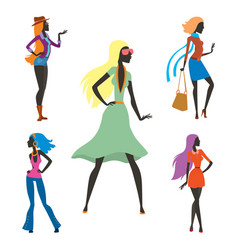fashion look girl silhouette beautiful girl woman vector image vector image