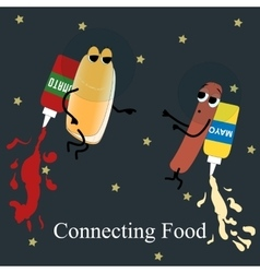 Fast food poster hotdog ketchup and mayonnaise in vector