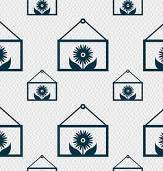 Frame with flower icon sign seamless pattern with vector