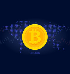 Golden bitcoin icon in world map background for vector