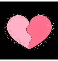 Halves heart icon pink vector