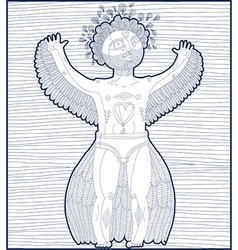 hand drawn graphic lined of bizarre creature vector image vector image