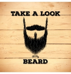 Hipster beard on wooden background vector