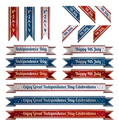 independence day ribbons vector image vector image
