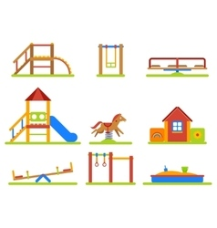 Kids playground flat icons set vector