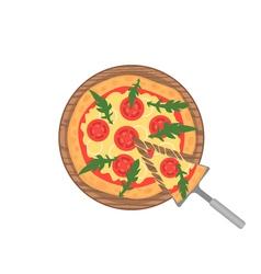 Margherita pizza on wooden board on white slice vector