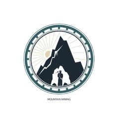 Miner against mountains design element vector