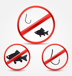 No fishing bright red icons - abstract sign vector