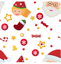 Seamless background template with santa and vector