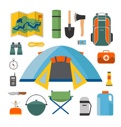 set of camping and tourism on an outdoor flat vector image vector image