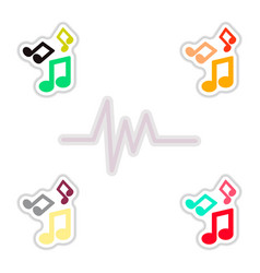 set of color label design collection of sound and vector image vector image