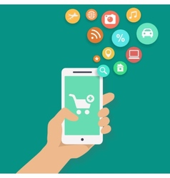 Smartphone apps shopping infographics with hand vector image