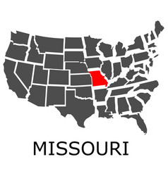 State of missouri on map of usa vector