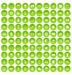 100 golf icons set green circle vector
