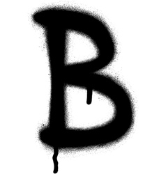 Sprayed b font graffiti with leak in black vector