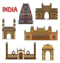 Indian travel landmarks thin line icon vector