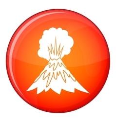Volcano erupting icon flat style vector image