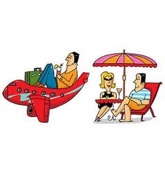 2 vacation scenes vector