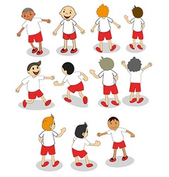 Set of boys playing vector image