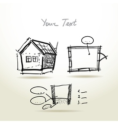 Hand drawn house plan sketch project for your vector